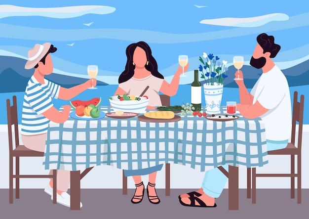 Vacances grecques pour les amis illustration couleur plate