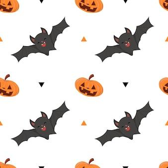 Vacances d'halloween, modèle sans couture avec citrouille et chauve-souris sur fond blanc.