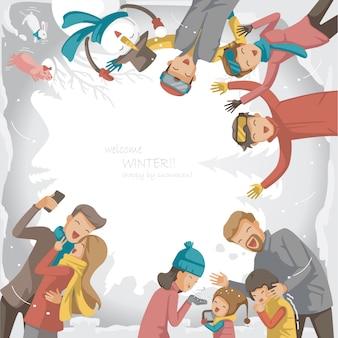 Vacances d'hiver. carte de voeux design.