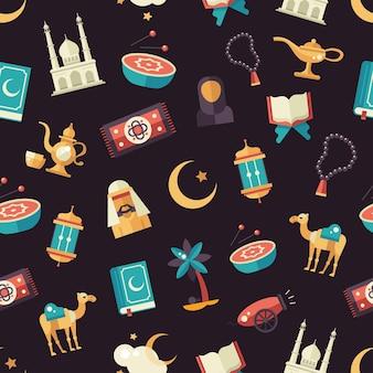 Vacances islamiques, culture. mâle musulman, femme, chameau, canon, mosquée, chapelet, lampe, tambour