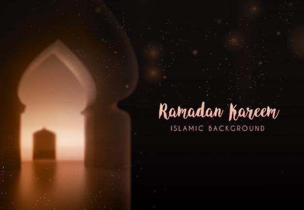 Vacances islamiques du ramadan kareem. carte de voeux. lampes sur un fond flou d'arches. sur fond intérieur d'arc bokeh. modèle de conception de carte. objet de carte affiche arabe traditionnelle
