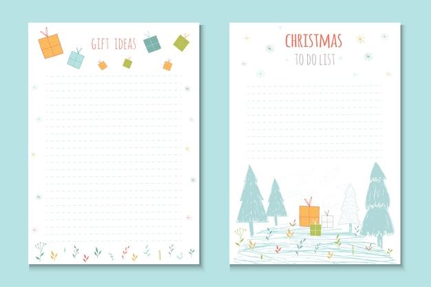 Vacances de noël à faire des listes, de jolies notes avec des éléments d'hiver