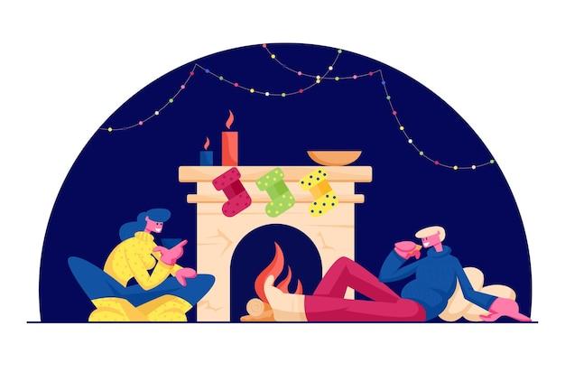 Vacances de noël temps libre à la maison. illustration plate de dessin animé