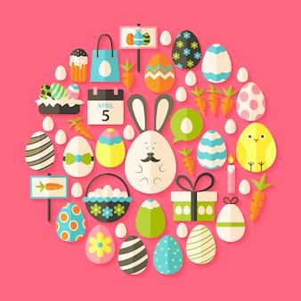 Vacances de pâques flat icons set en forme de circulaire avec une ombre. ensemble d'icônes de vacances stylisées plat