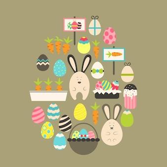 Vacances de pâques flat icons set over brown. ensemble d'icônes de vacances stylisées plat en forme d'oeuf
