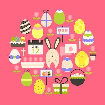 Vacances de pâques flat icons set sur rose foncé. icônes de vacances stylisées à plat mis en forme circulaire