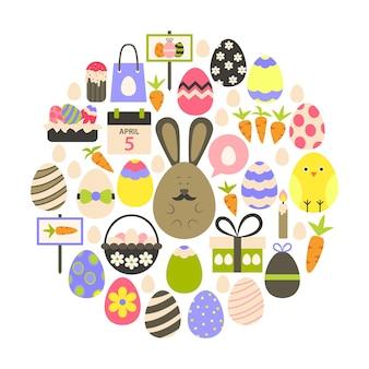 Vacances de pâques plat icons set sur blanc. icônes de vacances stylisées à plat mis en forme circulaire