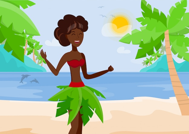 Vacances à paradise island vector illustration