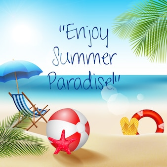 Vacances sur la plage l'été avec beach-volley