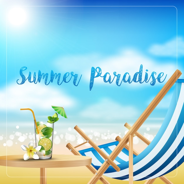 Vacances à la plage l'été avec des boissons sur la table