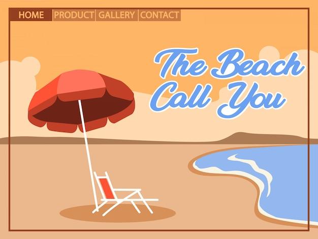 Vacances à la plage avec style artistique cubiste pour la conception de la page d'accueil