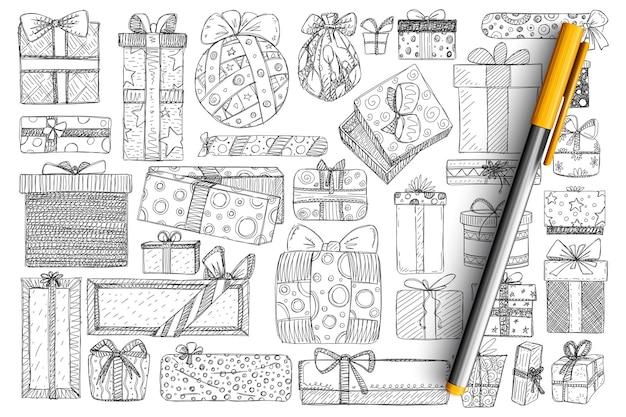 Vacances présentes dans les boîtes ensemble de doodle. collection de cadeaux de vacances festives dessinés à la main dans du papier d'emballage décoré de rubans isolés.