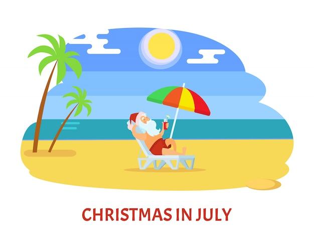 Vacances relaxantes du père noël sur la plage