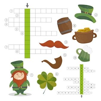 Vacances de la saint-patrick - puzzle - jeu de mots croisés pour enfants - réponse incluse