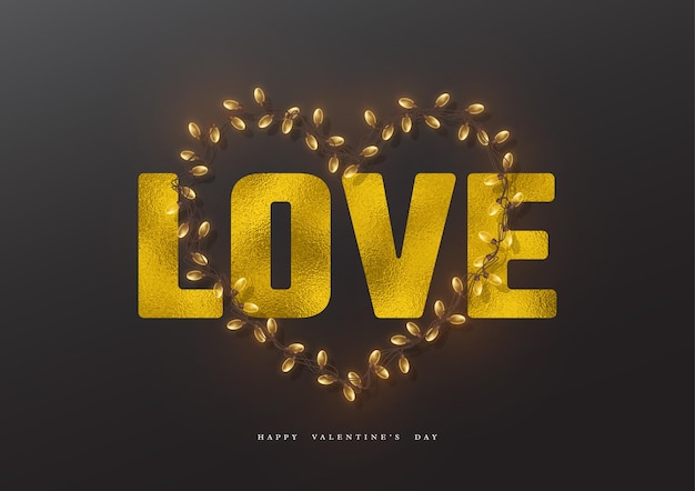 Vacances de la saint-valentin. amour de mot pailleté avec effet feuille et coeur de guirlande.