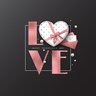 Vacances de la saint-valentin. amour de mot de paillettes avec effet de feuille, coeur 3d et carte de voeux avec enveloppe.