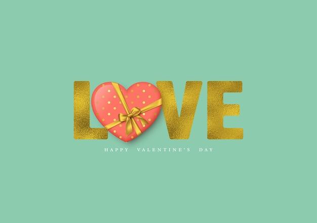 Vacances de la saint-valentin. amour de mot de paillettes avec effet de feuille et coeur 3d.