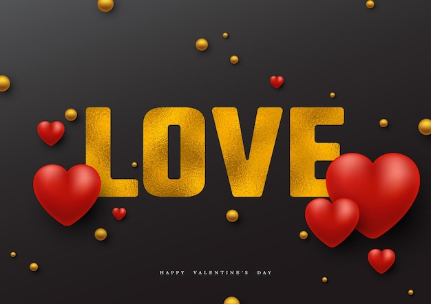 Vacances de la saint-valentin. amour de mot de paillettes avec effet de feuille et coeurs 3d.