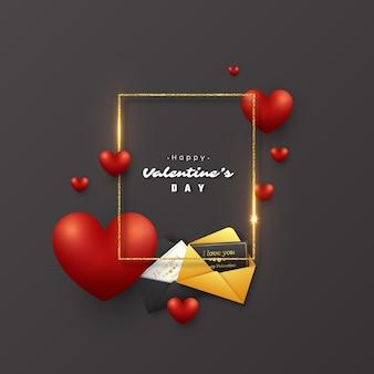 Vacances de la saint-valentin. cadre doré scintillant avec des lumières rougeoyantes, coeur 3d et carte de voeux avec enveloppe.