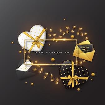 Vacances de la saint-valentin. cadre de paillettes, coeur 3d avec enveloppe