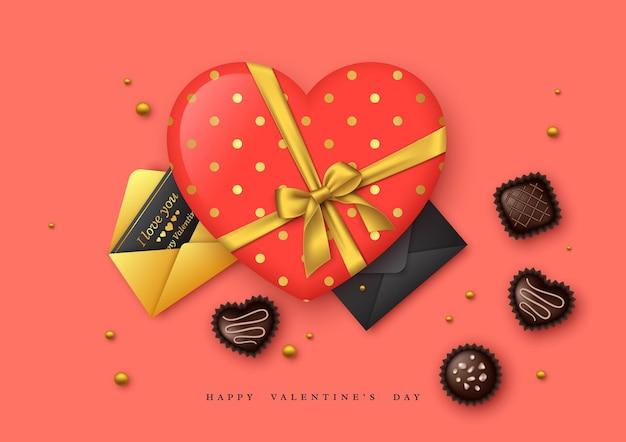 Vacances de la saint-valentin. coeur 3d avec noeud doré et bonbons au chocolat