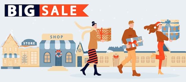 Vacances shopping gens heureux avec cadeau de noël et achats sur fond de magasins