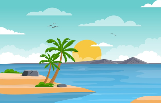 Vacances à tropical beach sea palm tree summer landscape illustration