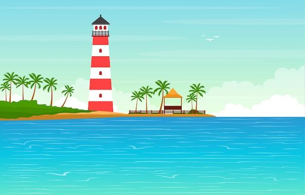 Vacances à tropical beach sea palm tree summer landscape illustration