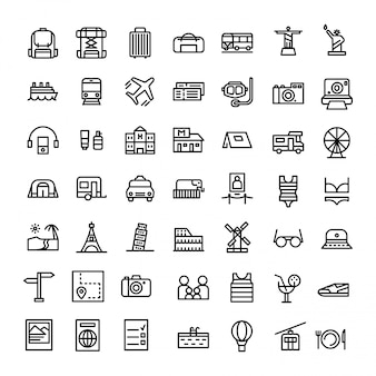Vacances ou vacances jeu d'icônes en vecteur de style de ligne