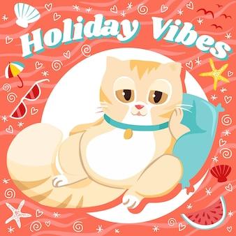 Vacances vibes chill cat fond d'été