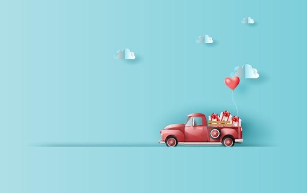Vacances avec voiture camionnette classique rouge