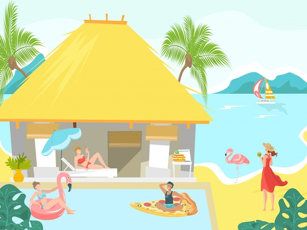 Vacanciers en mer plage bungalow personnes bronzer sur tropical resort, illustration de vacances.