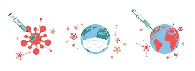 Un vaccin aide à conquérir le monde des coronavirus dans un masque de protection et une injection de seringue dans un globe terrestre