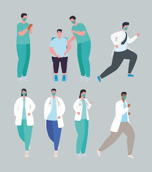 Vaccin contre le coronavirus covid19, groupe de médecins et patient portant une illustration de masque médical