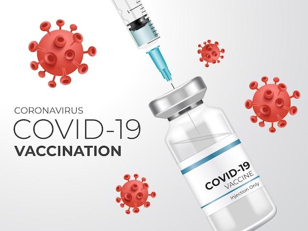 Vaccin contre le coronavirus. vaccination contre le virus corona covid-19 avec flacon de vaccin et injection de seringue