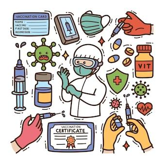 Vaccin doodle illustration fond isolé