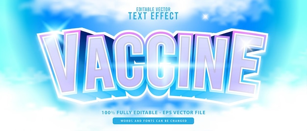 Vaccin, effet de texte de style brillant métallisé blanc bleu 3d moderne modifiable de qualité supérieure, parfait pour l'impression, les produits alimentaires et les boissons ou les titres de jeux.