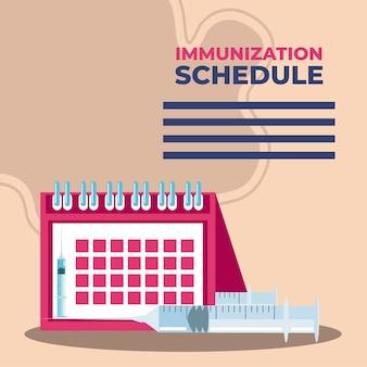 Vaccin mondial, seringue de médecine et protection du calendrier contre l'illustration