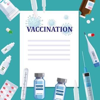 Vaccination affiche modèle concept texte place blanc blanc seringue comprimé pilules thermomètre