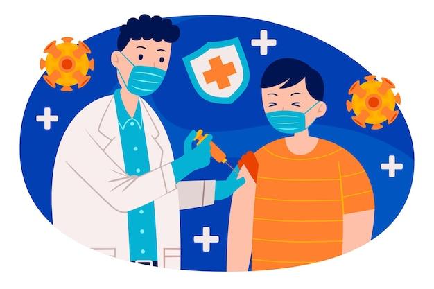 Vaccination des personnes dans un style design plat