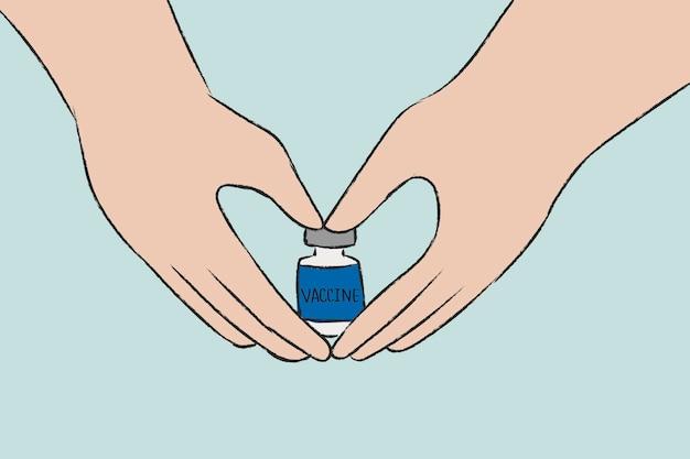 Vaccination vecteur dessiné à la main, concept big pharma