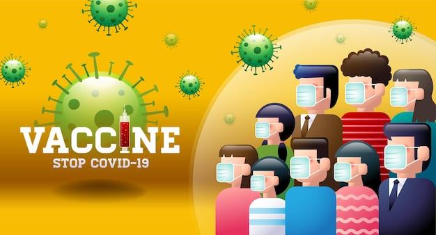 Vaccine stop covid19 masque l'immunité du groupe de distanciation sociale.