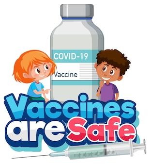 Les vaccins sont des polices sûres avec des enfants tenant une bouteille de vaccin covid-19