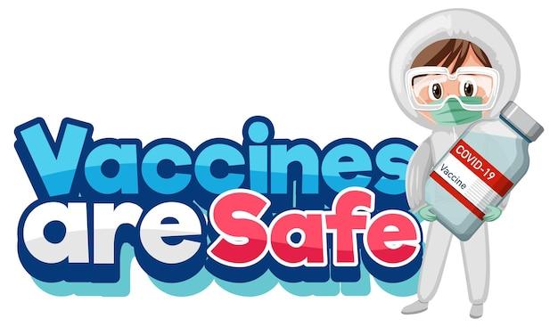 Les vaccins sont des polices sûres avec un médecin tenant le vaccin covid-19