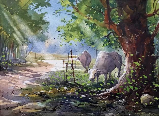 Vache aquarelle mangeant de l'herbe sous l'art de la main de l'arbre
