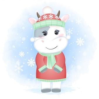 Vache bébé mignon et flocons de neige