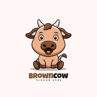 Vache brune assise logo de dessin animé mignon