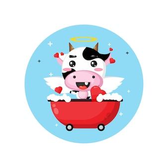 Vache cupidon mignon trempant dans la baignoire de l'amour
