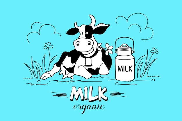 La vache dans le cadre des fleurs sauvages. produits laitiers biologiques