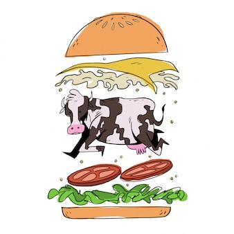 Vache dans un hamburger